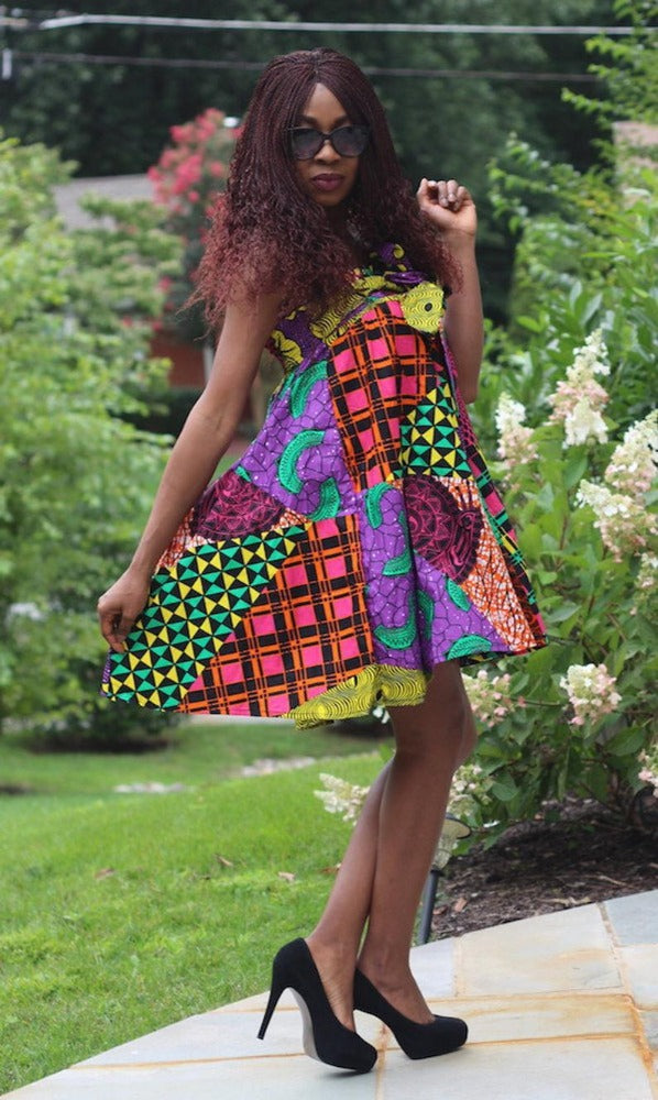 African Convertible Dress or Skirt - Patch Print - Tara - ASHANIS COLLECTION