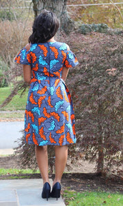 african print dress blue orange dina