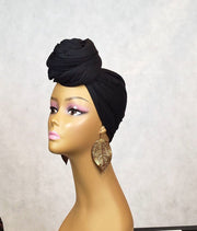 black head scarf turban wrap top knot