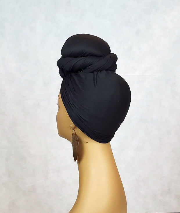 black top knot head scarf or turban