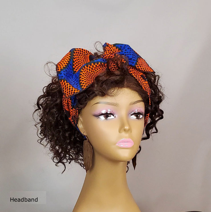 African Print Head Head Wrap - Headband - Blue/Orange Ankara - ASHANIS COLLECTION
