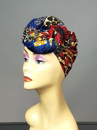 African HeadWrap or Scarf -  Blue Ankara Cotton Fabric - ASHANIS COLLECTION