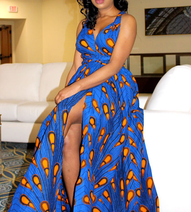 blue ankara infinity maxi dress