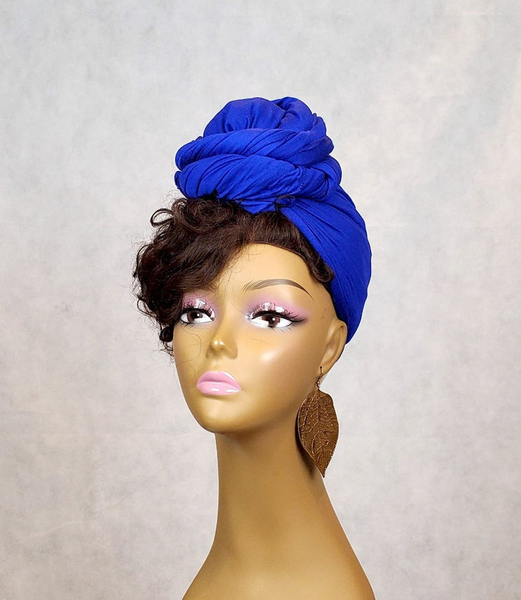 Blue HeadWrap or Scarf - Solid Color - ASHANIS COLLECTION