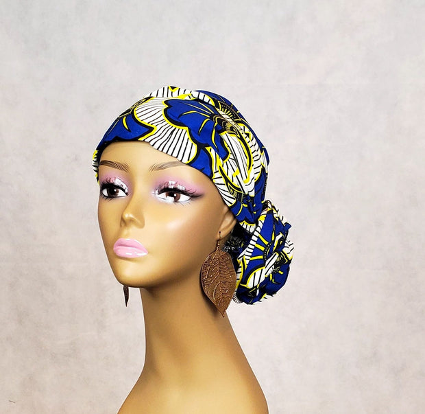 African Head Scarves & Face Mask Set - Blue White