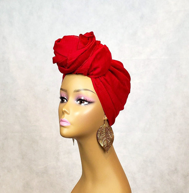 Head Wrap or Scarf - Deep Red - Solid Color - ASHANIS COLLECTION