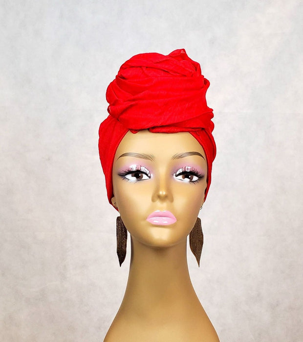 deep orange head wrap for women