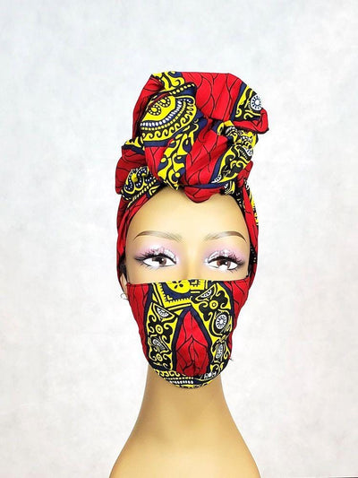 Red African Face Mask and Head Wrap Set