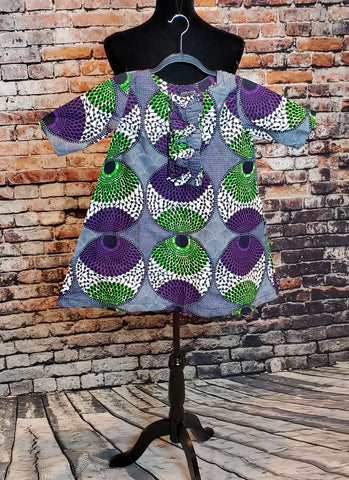 LISA A-line Dress for Kids - Girls African Print - Purple