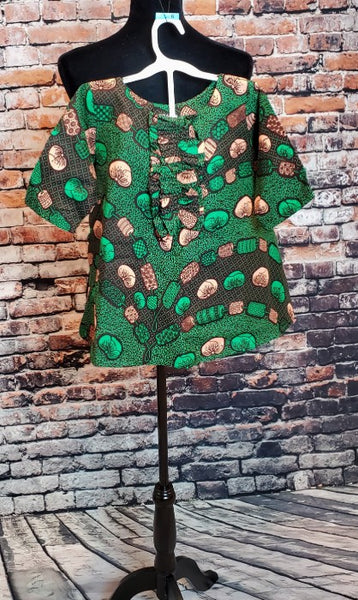 LISA A-line Dress for Kids - Girls African Print - Green