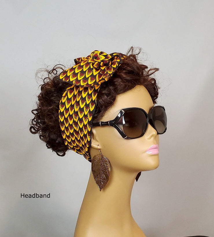 African headband - brown ankara head band