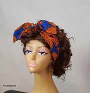 African Print Headband - Blue/Orange Ankara Head Band - ASHANIS COLLECTION