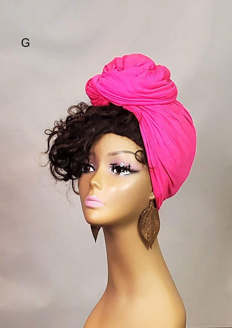 Hot Pink head wrap style. Stretchy headwrap for women