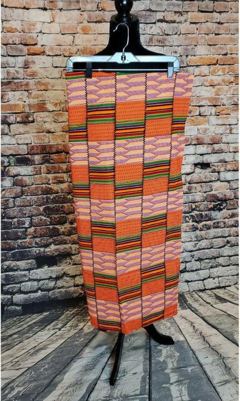 orange ghana kente fabric