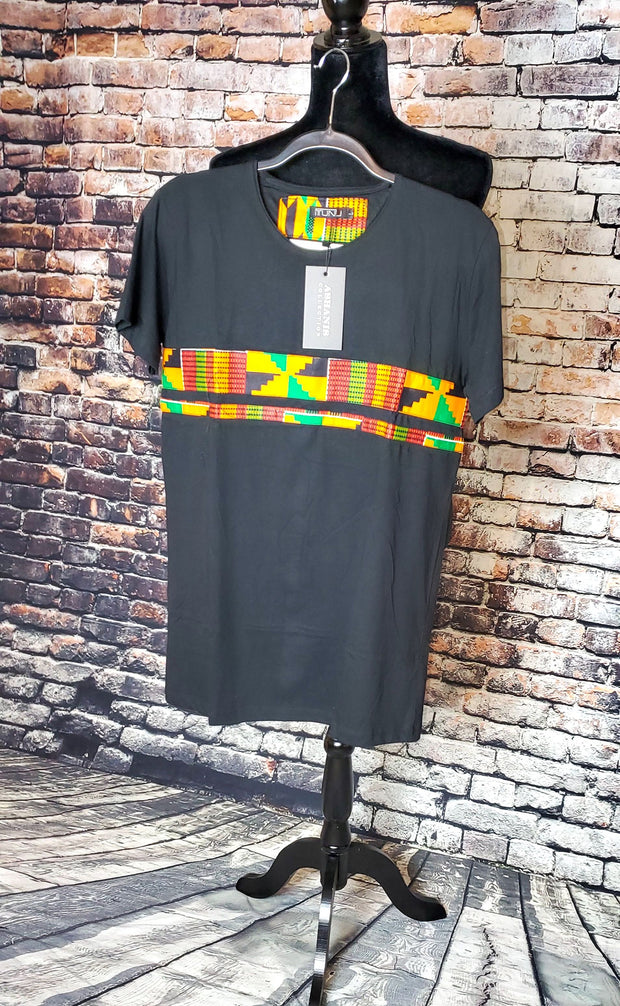 Men's African Print T-Shirt | Ankara Tops for Men | Black Cotton