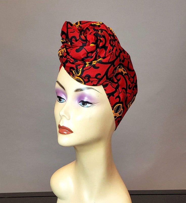 red top knot head wrap