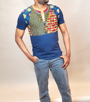 Men's African Print T-Shirt | Blue Cotton Fabric | Ankara Tshirt for Men
