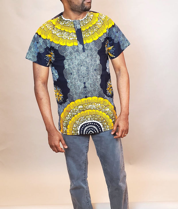 African Men's Fashion | Ankara Men Clothing | Navy Gray African Shirt
