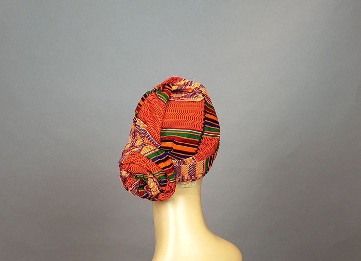 African Kente Head Wrap - Orange Ankara
