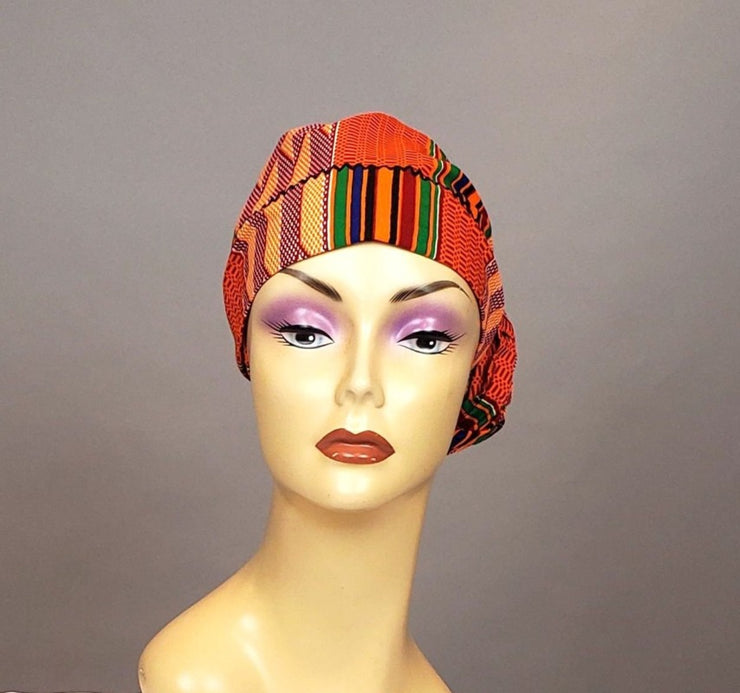 kente head scarf orange fabric
