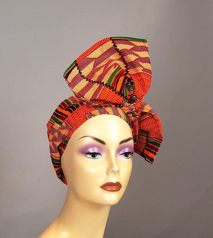 orange kente head wrap