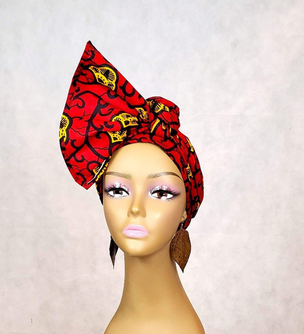 red cotton head wrap
