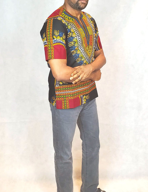 Men's Black African Dashiki Shirt | Ankara Men Shirts | African Print Tops and Shirts for Men | African Men Clothing