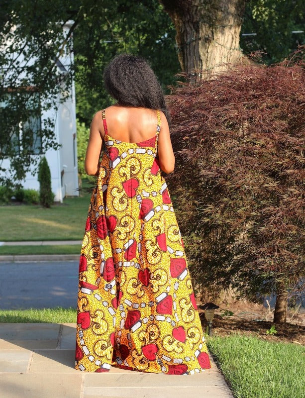 African Maxi Dress Iman Back View