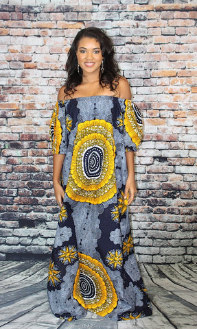 Tina Off-Shoulder Maxi Dress - Grey Gold African Print