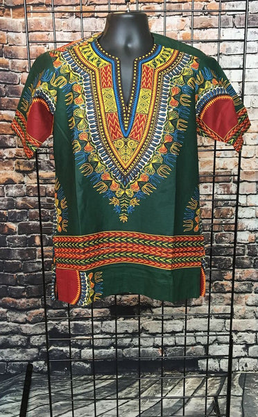 Timi Men's Green African Dashiki Shirt