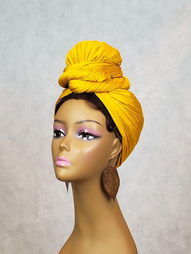 mustard yellow head wrap scarf