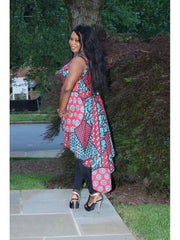 Miu High-Low Wrap Tunic Top - African print - ASHANIS COLLECTION