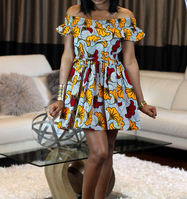 off shoulder mini ankara white yellow red flowers