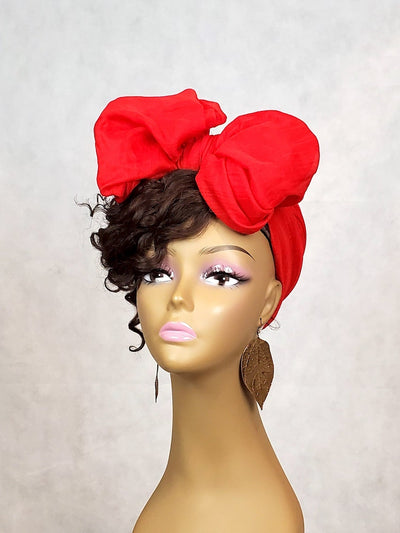 orange black women head wrap scarf