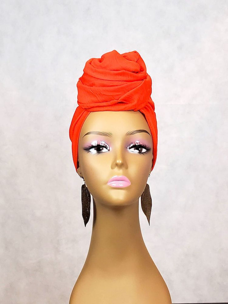 Orange Head Wrap or Scarf - Solid Color - ASHANIS COLLECTION