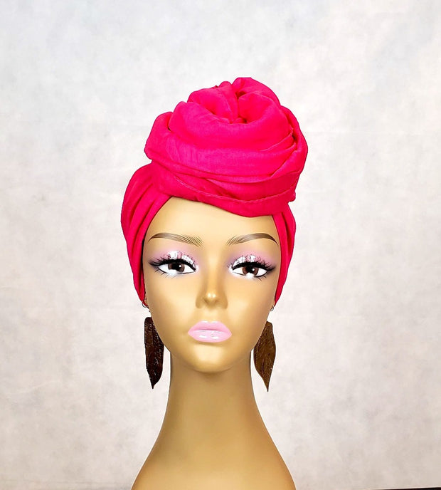 pink head wrap fuschia top knot style