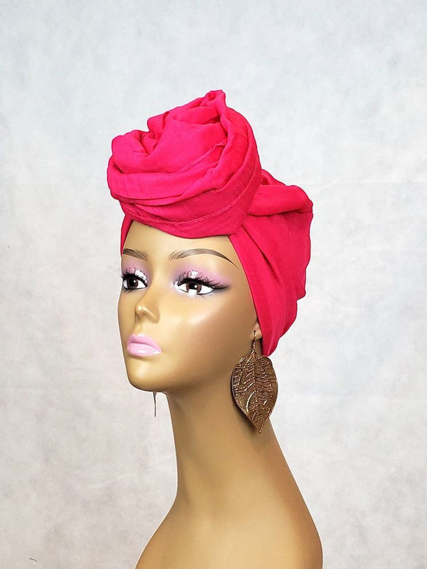 Pink Scarf or Head Wrap - Solid Color - Fuschia - ASHANIS COLLECTION