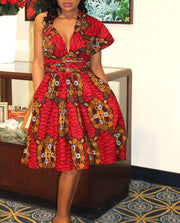African Infinity Dress - Red Ankara - Myra - ASHANIS COLLECTION