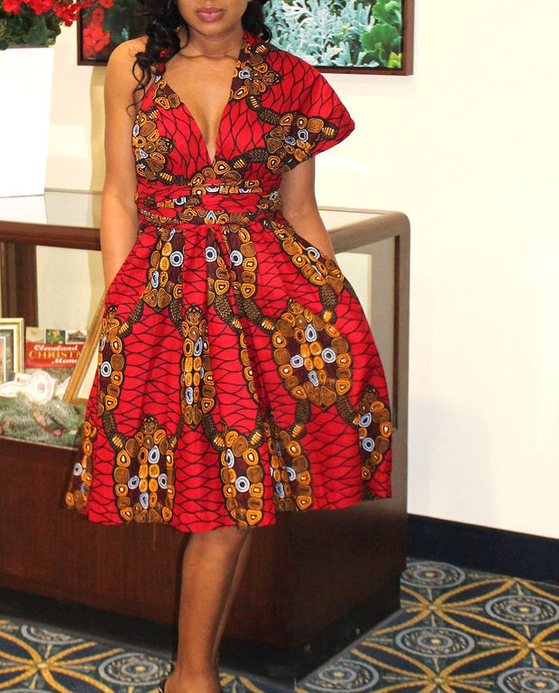 red african convertible straps dress