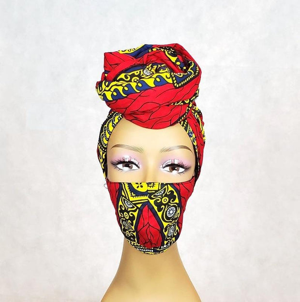 African Face Mask and Head Wrap