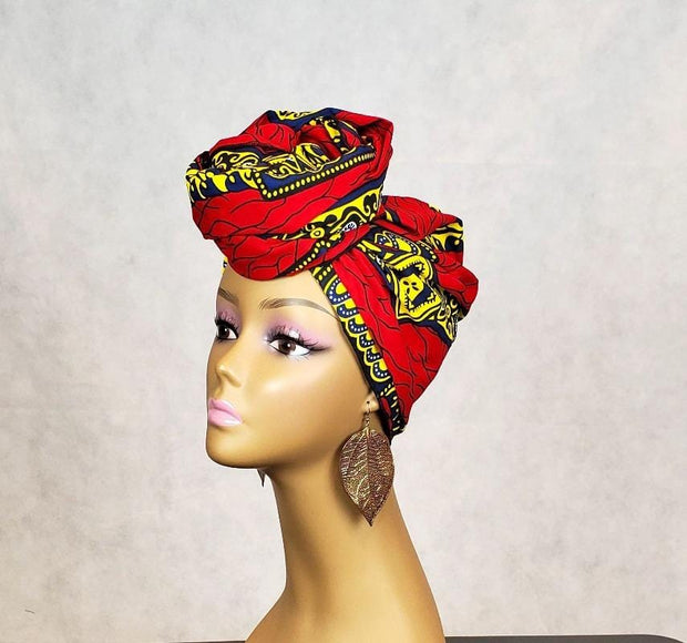 Yellow and Red African Head Wrap