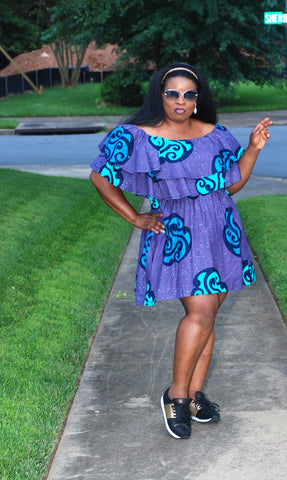 Tia Off-Shoulder Dress - Purple Print
