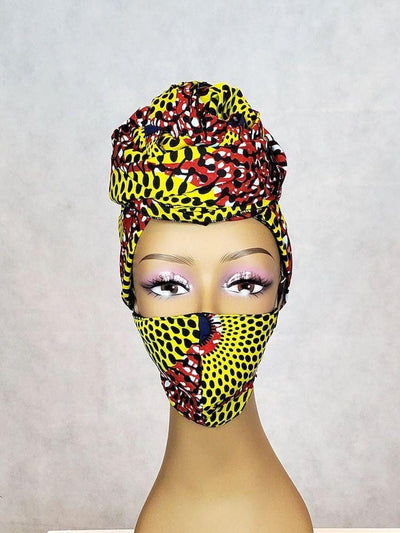 yellow african head wrap and face mask