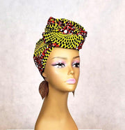 African Print HeadWrap & Face Mask Set - Yellow Rust Circle Pattern - ASHANIS COLLECTION