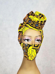 Yellow African Print Head Wrap and Matching Face Mask