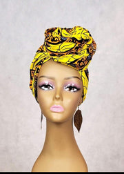 African Print Head Wrap/Scarf & Face Mask Set - Yellow Gold Ankara - ASHANIS COLLECTION