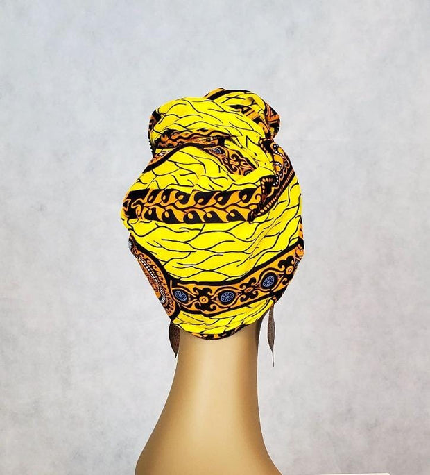 African Print Head Wrap/Scarf & Face Mask Set - Yellow Gold Ankara