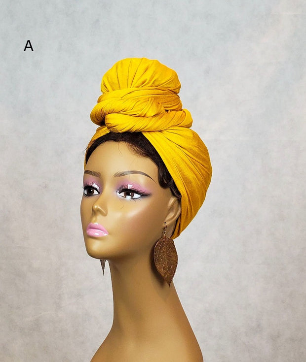 yellow head wrap scarf jersey knit