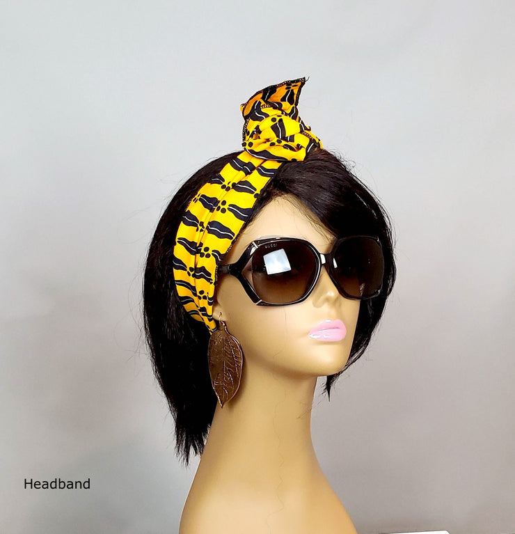 African Print Head Head Wrap - Yellow/Black Ankara Scarf - ASHANIS COLLECTION