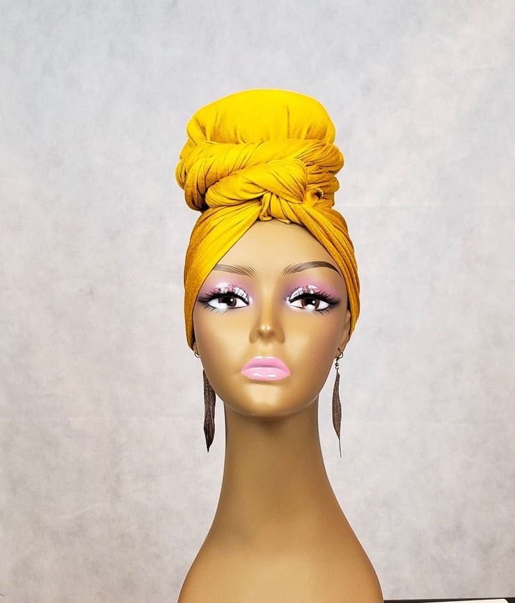 yellow jersey stretch head wrap scarf